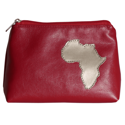 red cosmetic purse with Africa detail