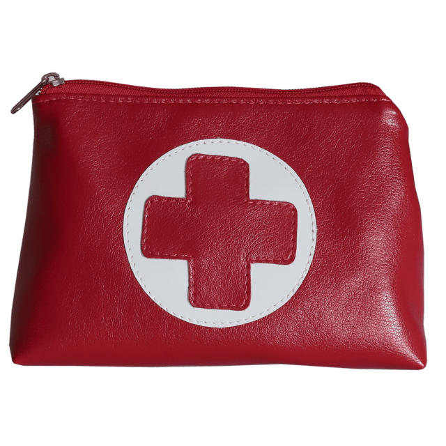 red first aid cosmetic purse