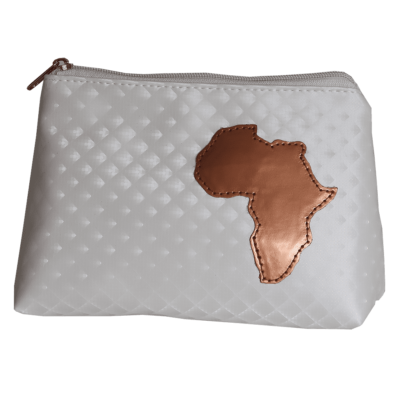 white cosmetic purse with Africa detail