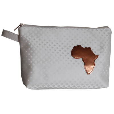 white soft toilet bag with Africa detail