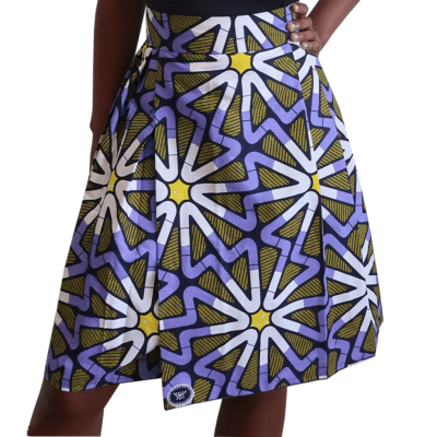 knee length pleated wrap skirt in African print