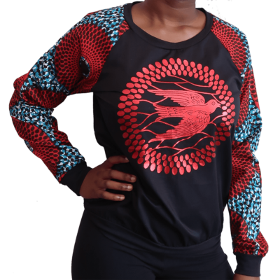 sweat top with dove print