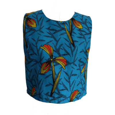 turquoise African print vest