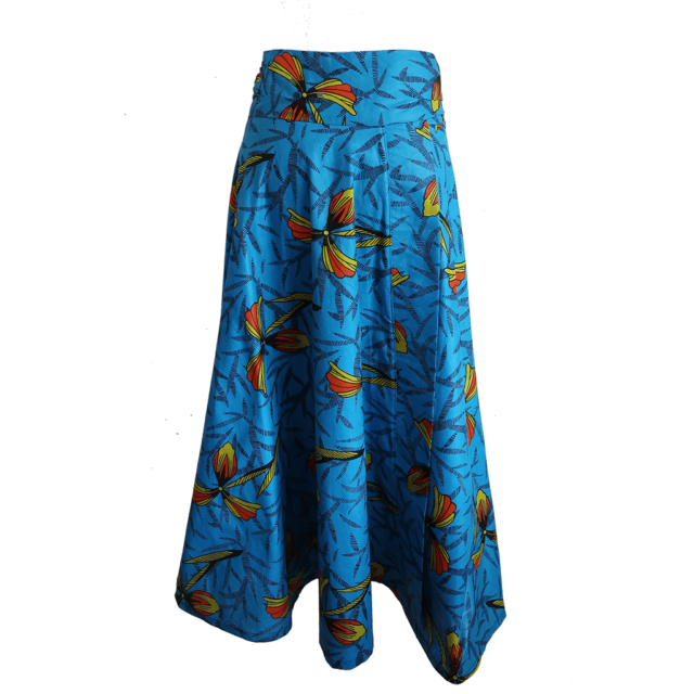 turquoise African print maxi wrap skirt