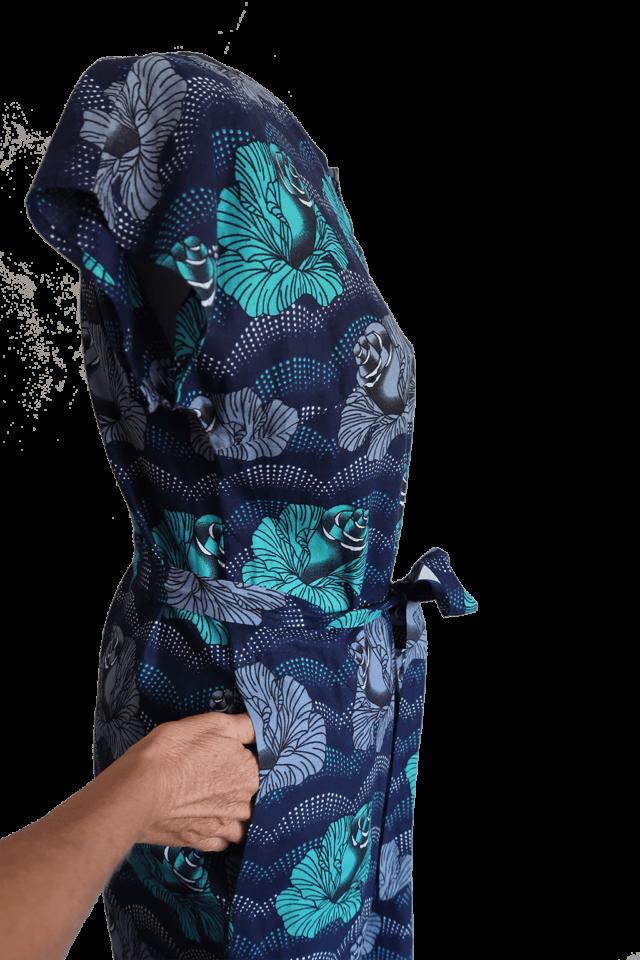 Blue roses slit dress